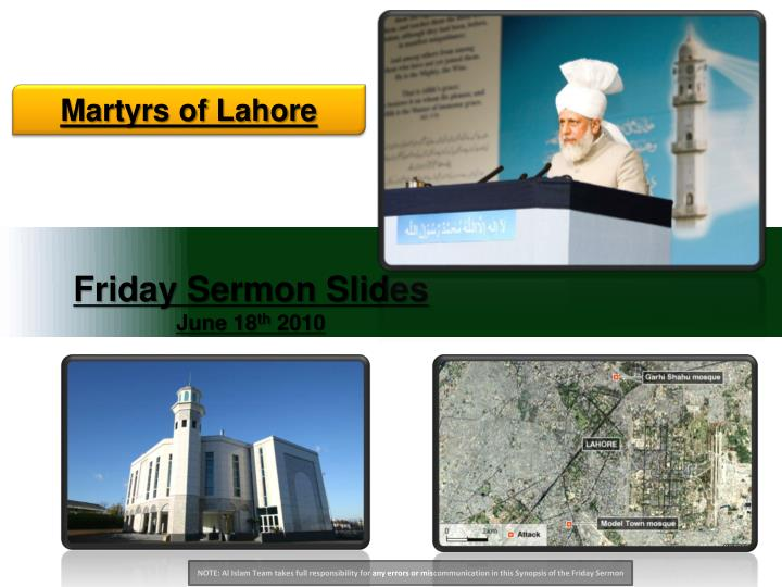 Friday sermon slides june 18 th 2010