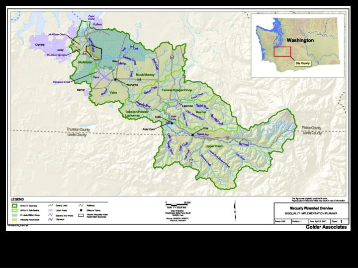 Source: Nisqually Indian Tribe. Nisqually Watershed Detailed Implementation Plan, February 2007.  25pp.