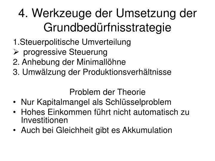 4. Werkzeuge der Umsetzung der Grundbedürfnisstrategie