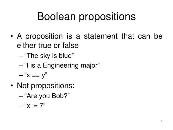 Boolean propositions