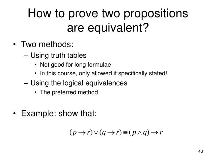 How to prove two propositions