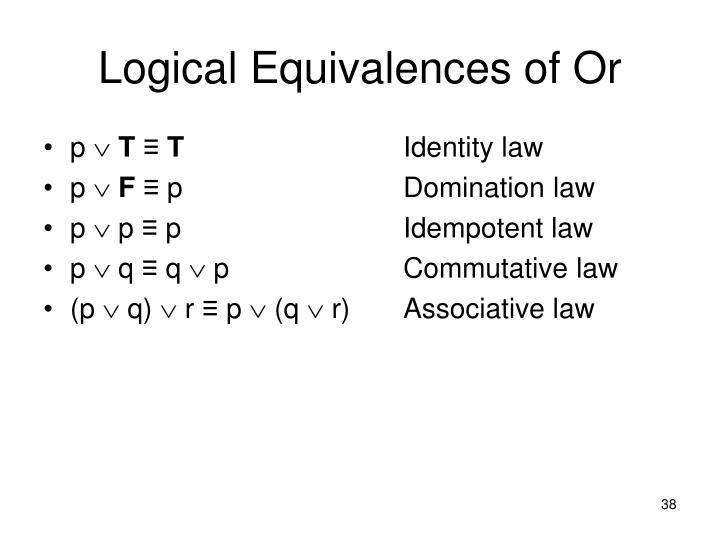 Logical Equivalences of Or