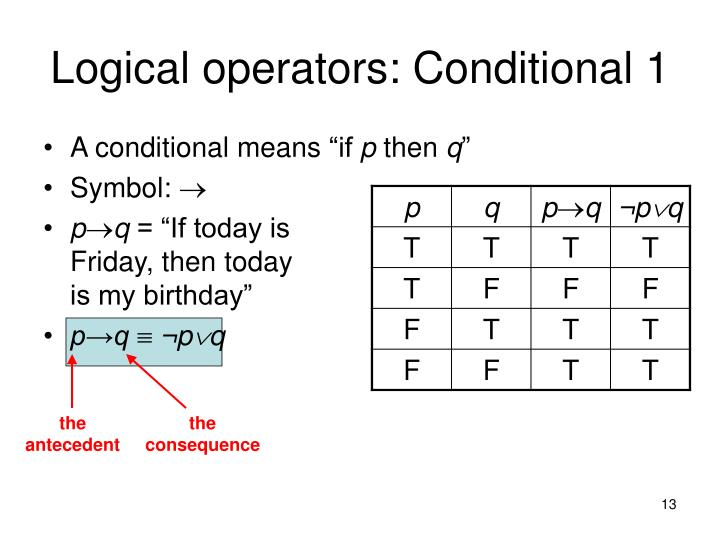 Logical operators: Conditional 1