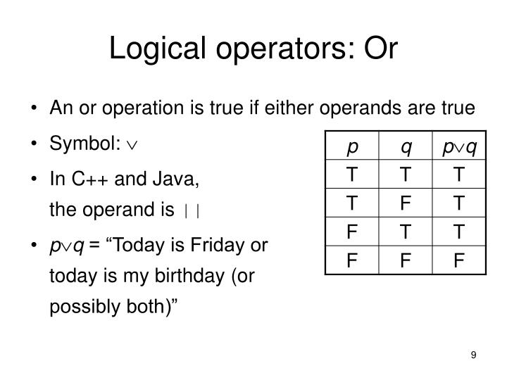 Logical operators: Or