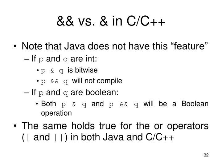 && vs. & in C/C++