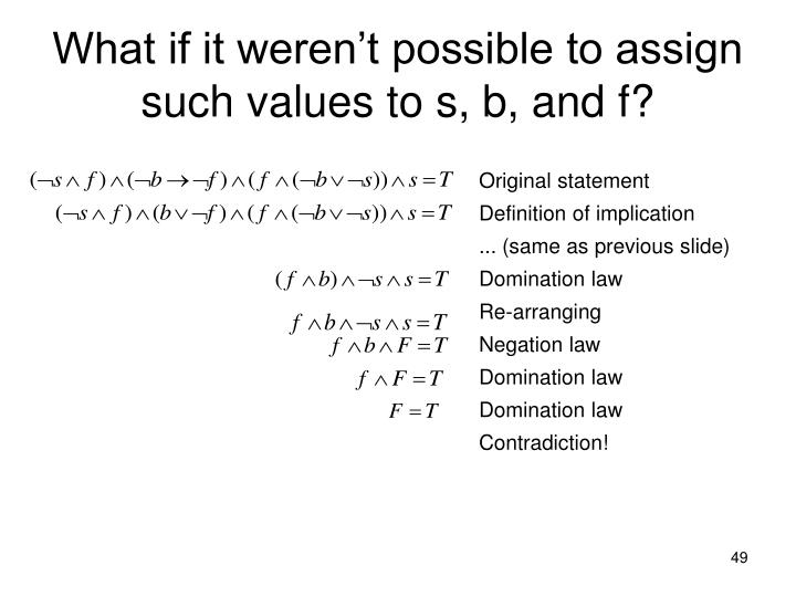 What if it weren't possible to assign such values to s, b, and f?