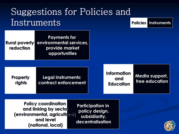 Suggestions for Policies and Instruments
