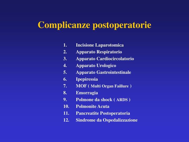 Complicanze postoperatorie
