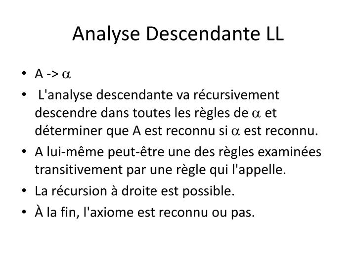 Analyse Descendante