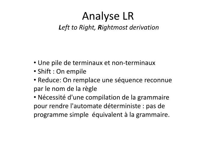 Analyse LR