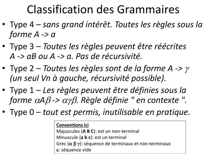 Classification des Grammaires