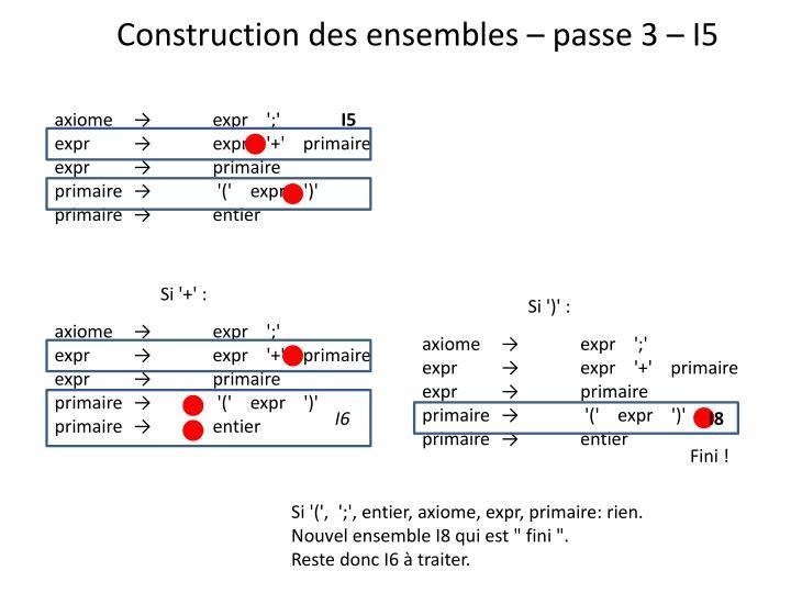 Construction des ensembles – passe 3 – I5