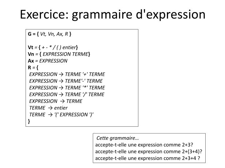 Exercice: grammaire d'expression