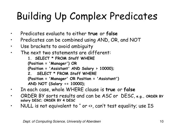 Building Up Complex Predicates