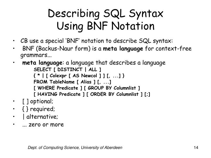Describing SQL Syntax