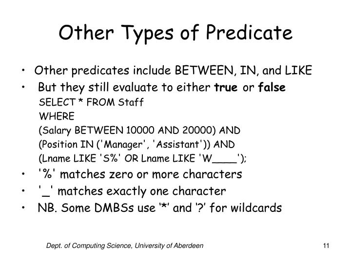 Other Types of Predicate
