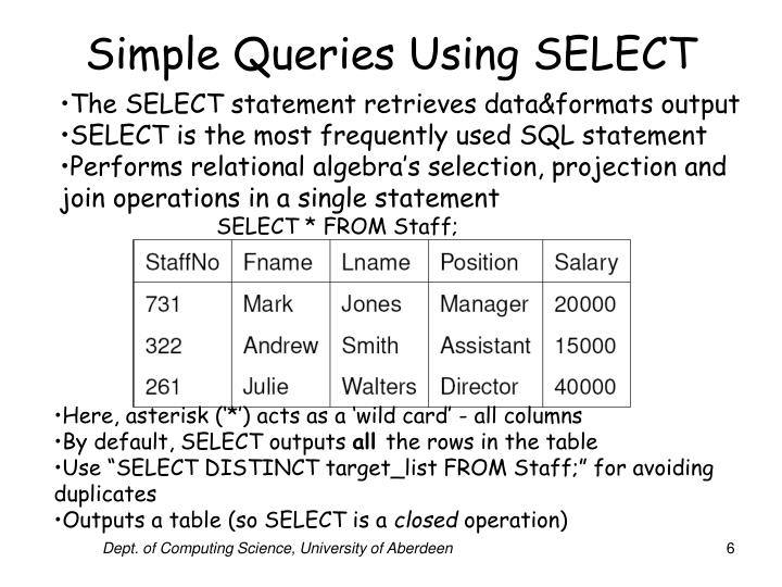Simple Queries Using SELECT