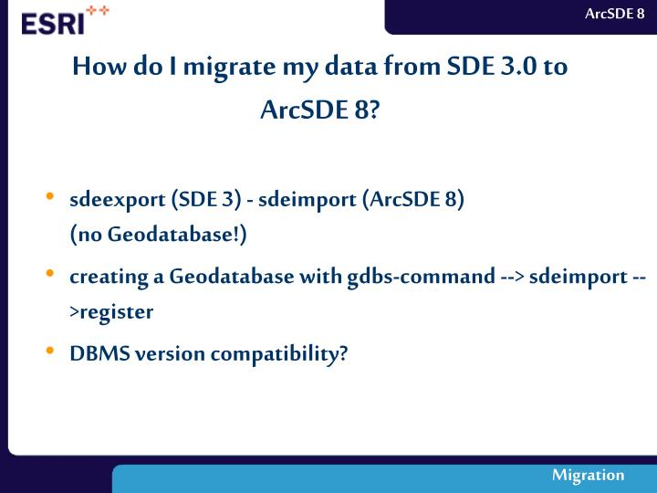 How do I migrate my data from SDE 3.0 to ArcSDE 8?