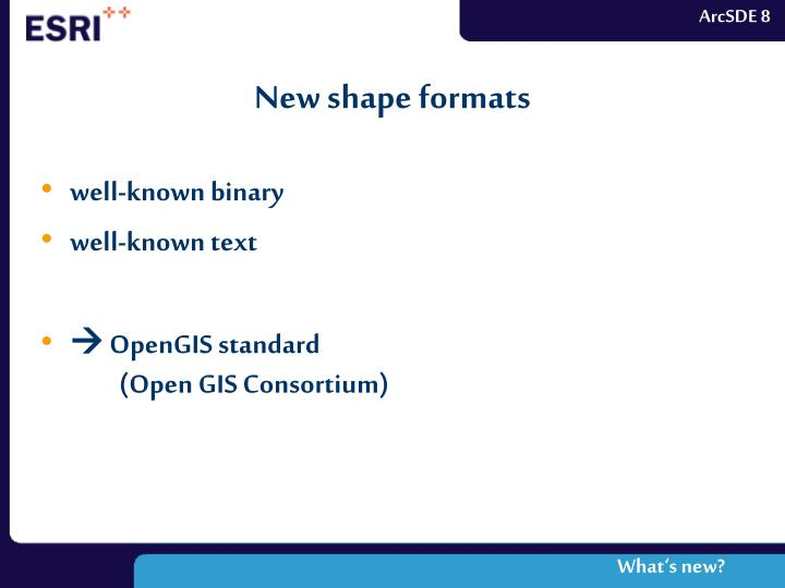 New shape formats