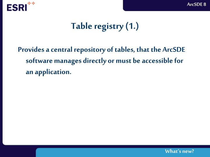 Table registry (1.)