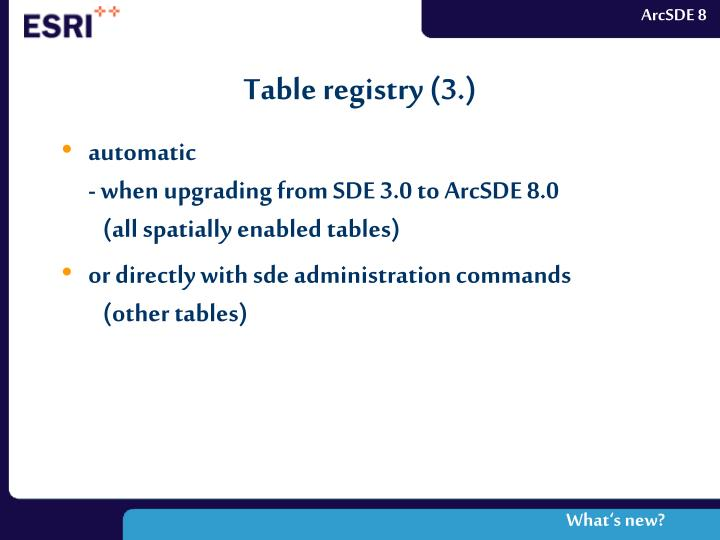 Table registry (3.)
