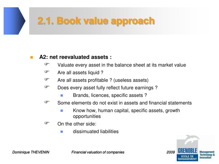 2.1. Book value approach