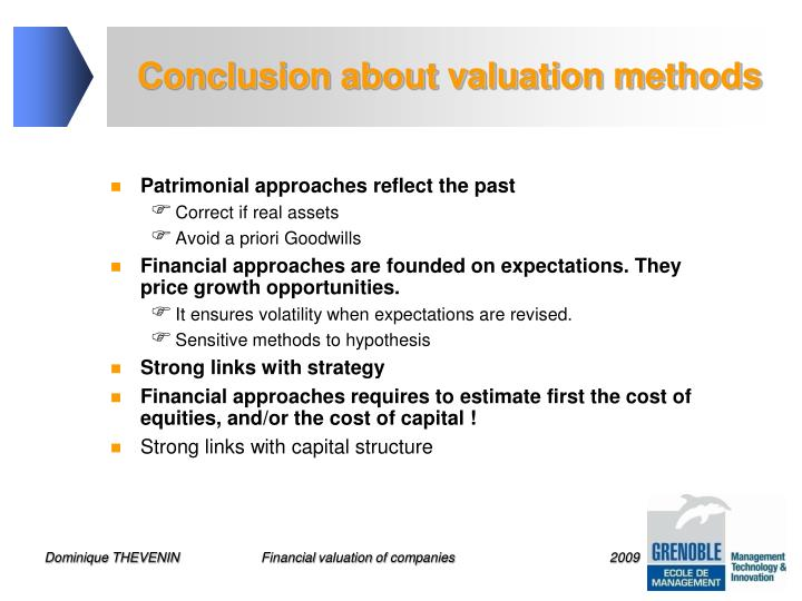 Conclusion about valuation methods