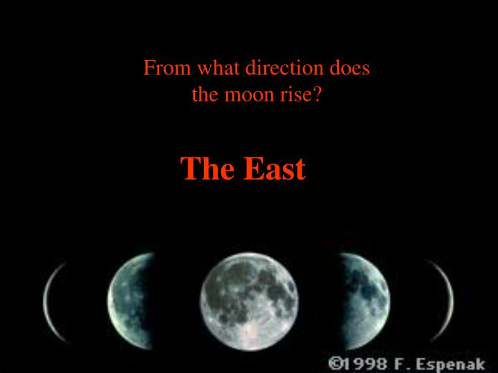 From what direction does the moon rise?