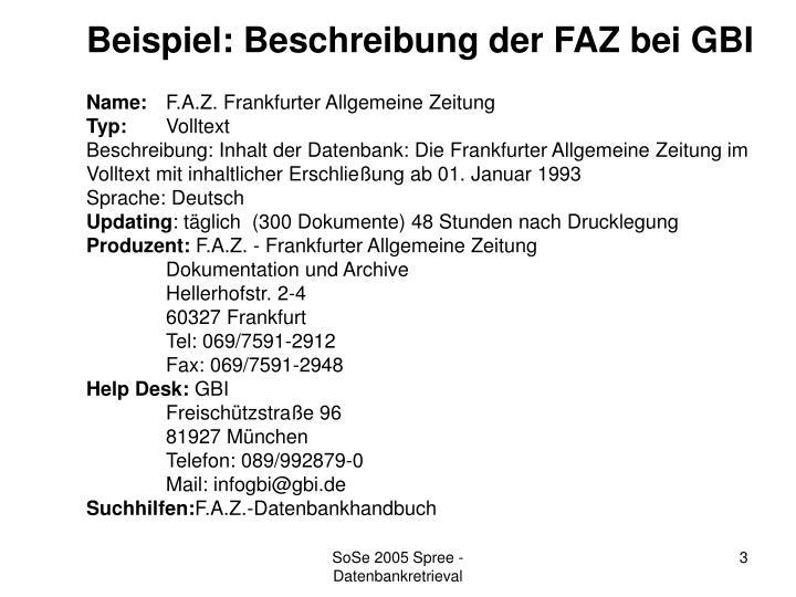 Beispiel: Beschreibung der FAZ bei GBI