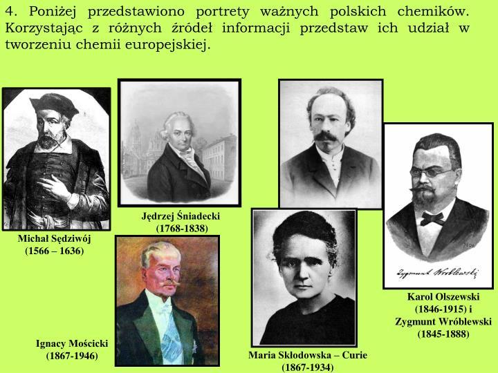 4. Poniżej przedstawiono portrety ważnych polskich chemików. Korzystając z różnych źródeł informacji przedstaw ich udział w tworzeniu chemii europejskiej.