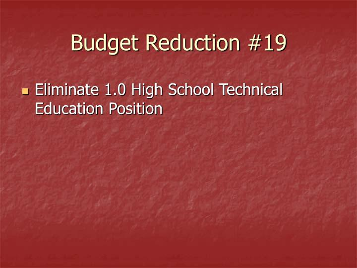 Budget Reduction #19