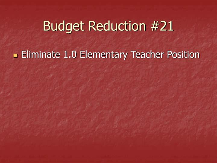 Budget Reduction #21
