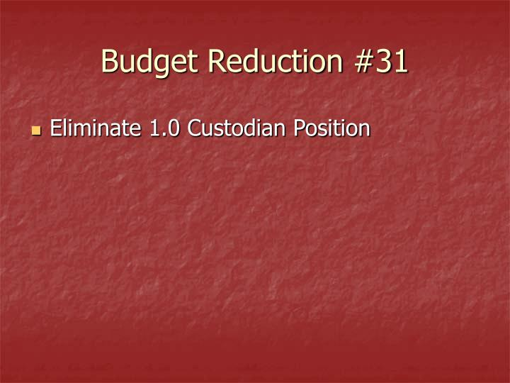 Budget Reduction #31