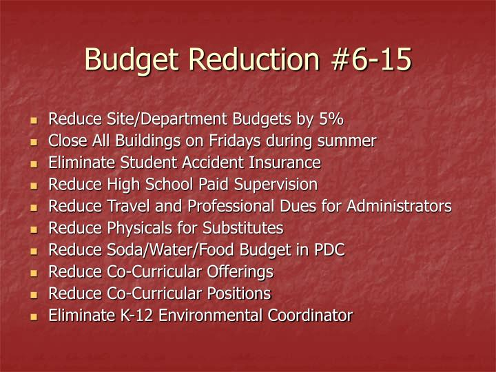 Budget Reduction #6-15