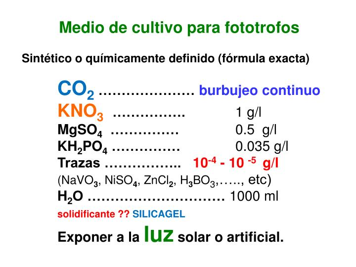Medio de cultivo para fototrofos