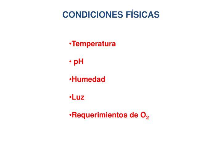 CONDICIONES FÍSICAS
