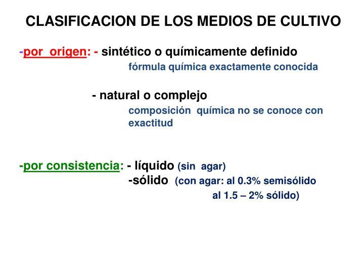 CLASIFICACION DE LOS MEDIOS DE CULTIVO