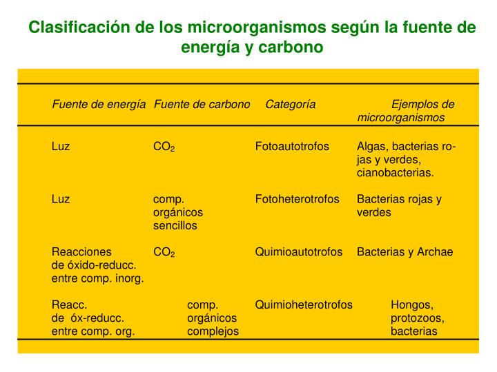 Clasificación de los microorganismos según la fuente de energía y carbono