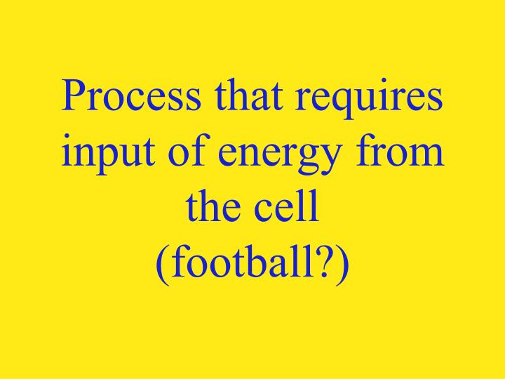 Process that requires input of energy from the cell