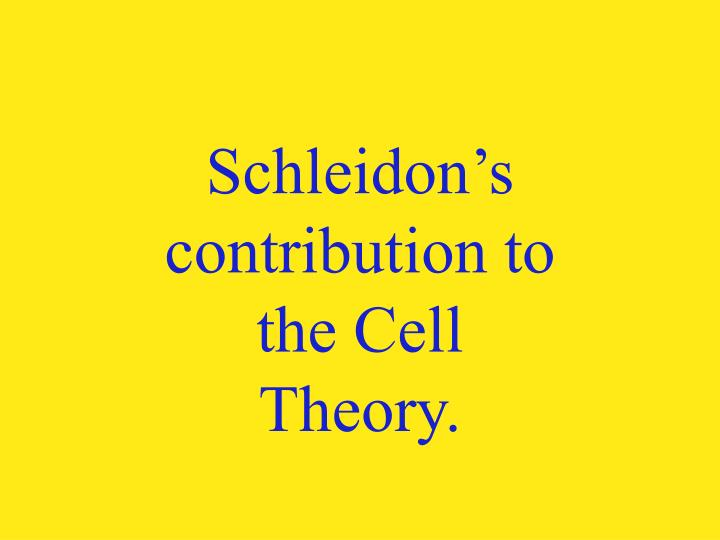 Schleidon's contribution to the Cell Theory.