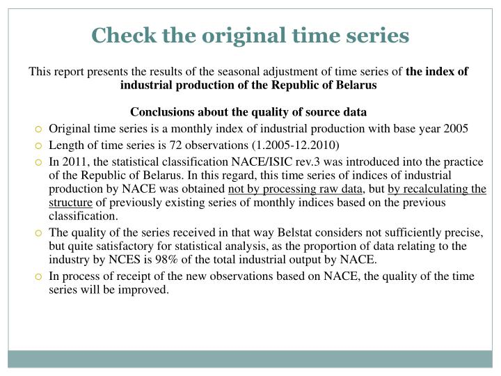 Check the original time series