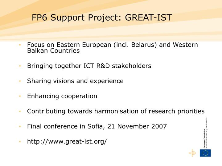 FP6 Support Project: GREAT-IST