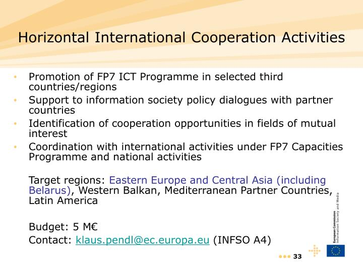 Horizontal International Cooperation Activities