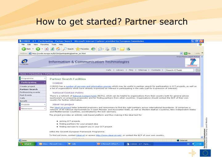 How to get started? Partner search