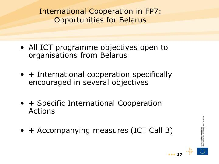 International Cooperation in FP7: Opportunities for Belarus