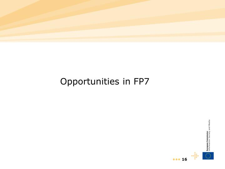 Opportunities in FP7