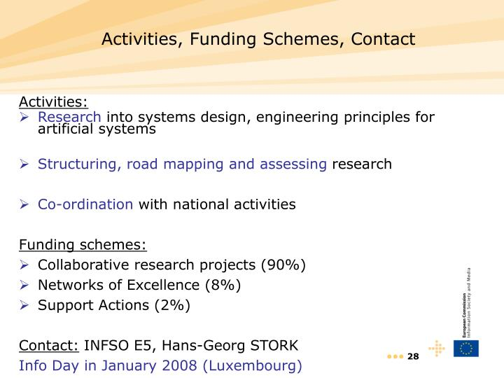 Activities, Funding Schemes, Contact