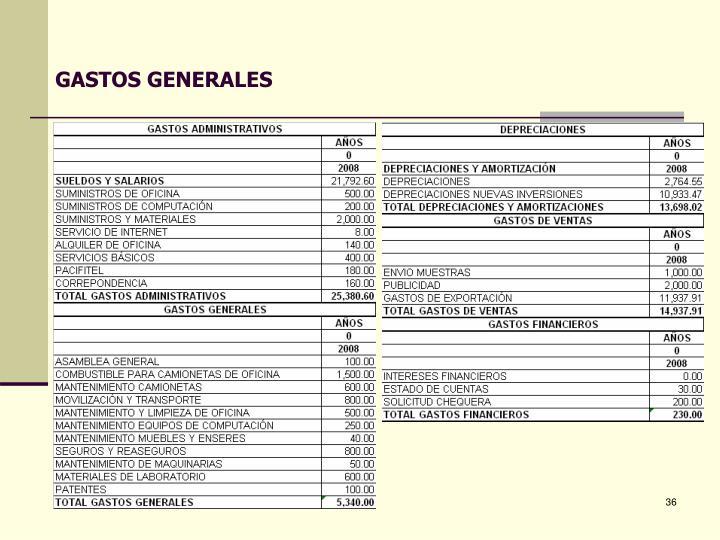 GASTOS GENERALES