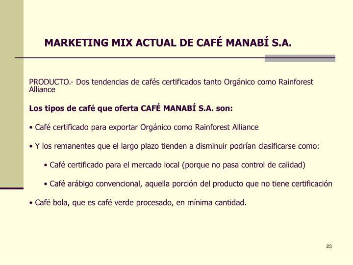MARKETING MIX ACTUAL DE CAFÉ MANABÍ S.A.