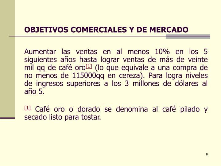 OBJETIVOS COMERCIALES Y DE MERCADO
